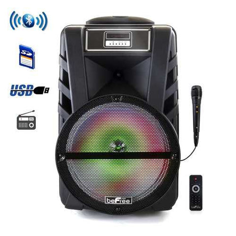 beFree Sound 12 Inch Bluetooth Rechargeable Portable PA Party Speaker with Reactive LED Lights