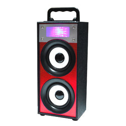 QFX Portable Multimedia Bluetooth Speaker with FM Radio in Red
