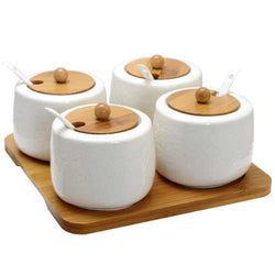 Elama Ceramic Spice, Jam and Salsa Jars with Bamboo Lids & Serving Spoons