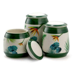 Elama 3 Piece Ceramic Kitchen Canister Collection in Green