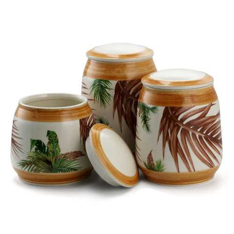 Elama 3 Piece Ceramic Kitchen Canister Collection in Sand