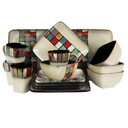 Elama Color Melange 16 Piece Stoneware Dinnerware Set with Complete Service for 4