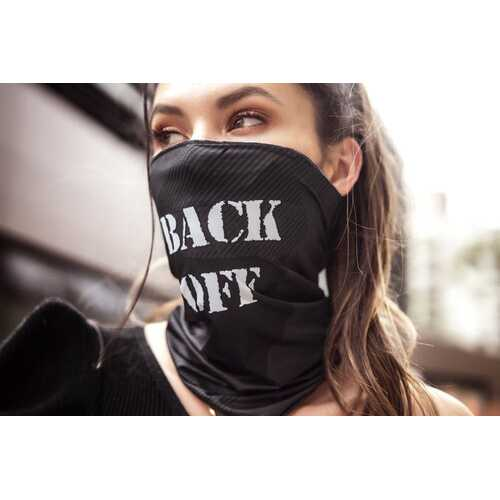 Face/ Neck Bandana - Back Off - Black Print -  One Size