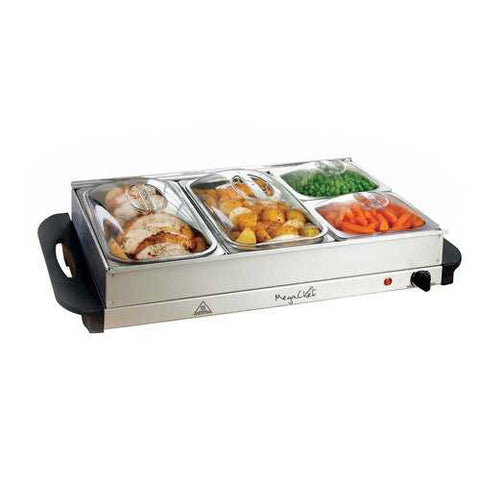 MegaChef Buffet Server & Food Warmer With 4 Removable Sectional Trays , Heated Warming Tray and Removable Tray Frame