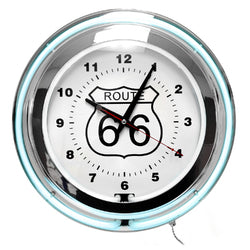 Neon Wall Clock Route 66 Circular Blue White with Pull Chain