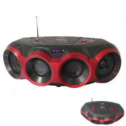 NAXA Electronics NPB-266 MP3/CD Boombox with Bluetooth (Red & Black)
