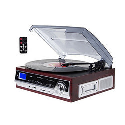 TechPlay 3-Speed Turntable & Cassett player W/SD USB, MP3 Encoding System and AM/FM Stereo Radio