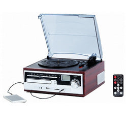 TechPlay ODC26WD 3 Speed Retro Classic Turntable W/ CD player, MP3, AM/FM Radio, SD and USB