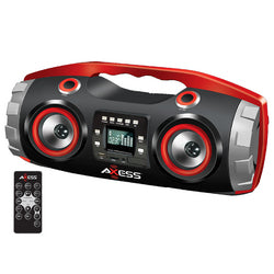 Portable FM Radio CD/MP3/USB/SD Boombox with Heavy Bass and Bluetooth-Red