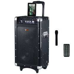 "QFX 2x8"" Battery Powered Bluetooth PA Speaker with FM/Radio/USB/SD"