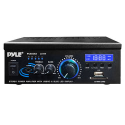 Pyle  Mini 2x75 Watt Stereo Power Amplifier USB/SD/MMC Card Reader w/AUX, CD & Microphone Inputs & Blue LED Display