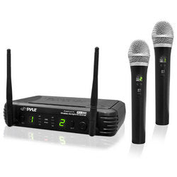 Pyle Premier Series Professional 2-Channel UHF Wireless Handheld Microphone System with Selectable Frequencies