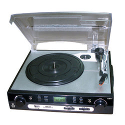USB Turntable with direct-to-digital USB/SD Card Encoder & Built-in AM/FM Radio Conversion