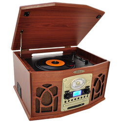 Pyle Retro Vintage Turntable with iPod Player CD/MP3and More-Wood Finish