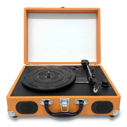 Pyle Retro Belt-Drive Turntable With USB-to-PC Connection, Rechargeable Battery