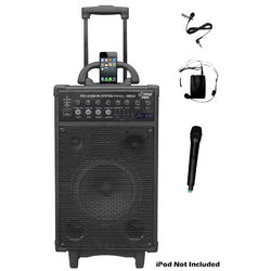 Pyle 800 Watt Dual Channel Wireless Rechargeable Portable PA System W/ iPod/iPhone Dock and More