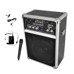 Pyle Dual Channel 400 Watt Wireless PA System W/USB/SD/MP3, 2 VHF Wireless Microphones (1 Lavalier, 1 Handheld)