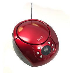 Supersonic Portable MP3/CD Player with AM/FM Radio- Red