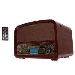 Tech Play Wood Turntable with CD, SD, USB, Remote AM/FM in Cherry