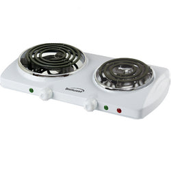 Brentwood Electric 1500W Double Burner Spiral White