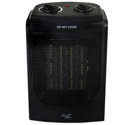 Vie Air 1500W Portable 2 Settings Home Black Ceramic Heater with Adjustable Thermostat
