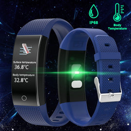Body Temperature Detection Smart Bracelet Immunity Measure Blood Pressure Heart Rate Fitness Bracelet IP68 Waterproof Russian