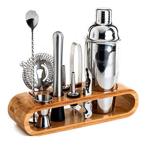 Cocktail Shaker Set 10 Tools With 1 Wood Rack (750ml)