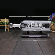 Ship In a Bottle Glass Boat with Wooden Base - Desk Ornament