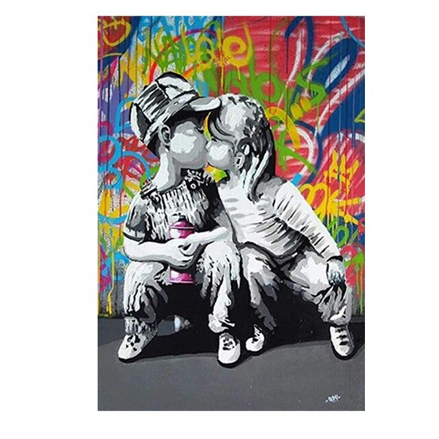 Graffiti Street Art Abstract Girl Kiss Boy Canvas Painting