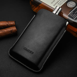 Hip Flask with Leather Bag 5.5 oz Portable Stainless Steel
