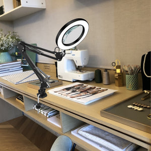 8W USB LED 3 Colors Table Lamp / Reading Light with 5X Large Magnifying Glass Magnifier