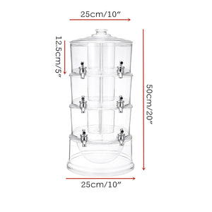 New 3 Tiers Cold Drink Juice Dispenser Plastic Clear Iced Beverage Holder