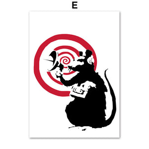 Banksy Nordic Posters And Prints Figure Wall Art Canvas Painting Black And White Wall Pictures