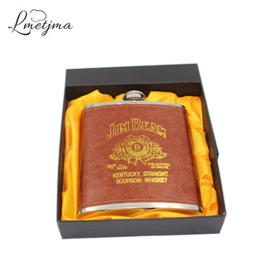 Stainless Steel Russian Whiskey Hip Flask Leather (18oz)