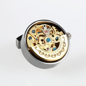 Watch Movement Cufflinks Lepton Steampunk Gear Watch Mechanism