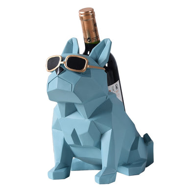 Abstract Geometry Bulldog Statue Wine Bottle Holder