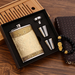 Leather & Stainless Steel Hip Flask (8 Oz)