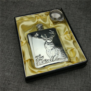 Stainless Steel 304 Hip Flask Relief Buck / Bull / Bear