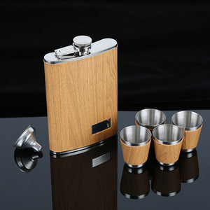 9 Oz Stainless Steel Hip Flask Set With 1 Funnel and 4 Cups