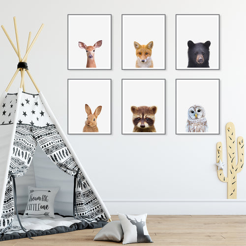 Six Framed Baby Animal Prints in Kids Room With Tipi