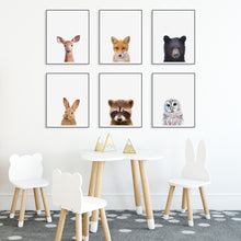 Six Framed Baby Animal Prints in Kids Room