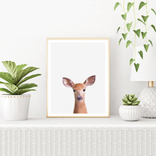 Framed Deer Art Print With Plants