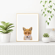 Framed Fox Art Print With Plants