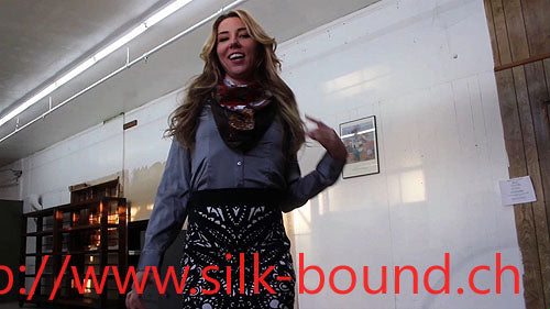 Janira bound and gagged in silk - silk-bound.ch