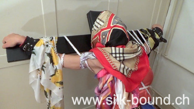 scarf-lady in trouble, scarf-blindfold and gagged with scarf