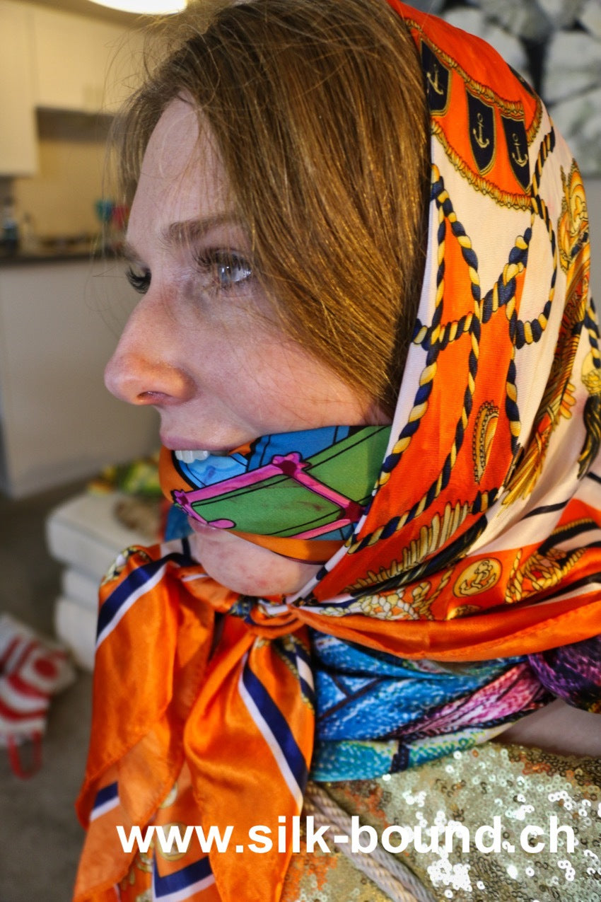 Ashley Lane - silenced lady with scarfgags, blindfolds and headscarves