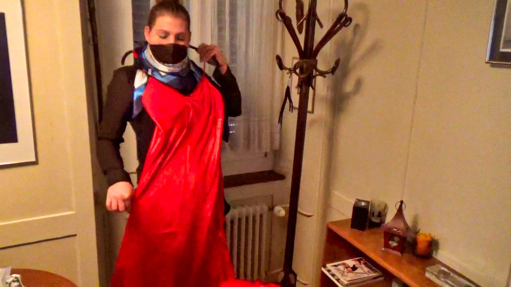 flight-attendant Alexandra bound and gagged by a bugler