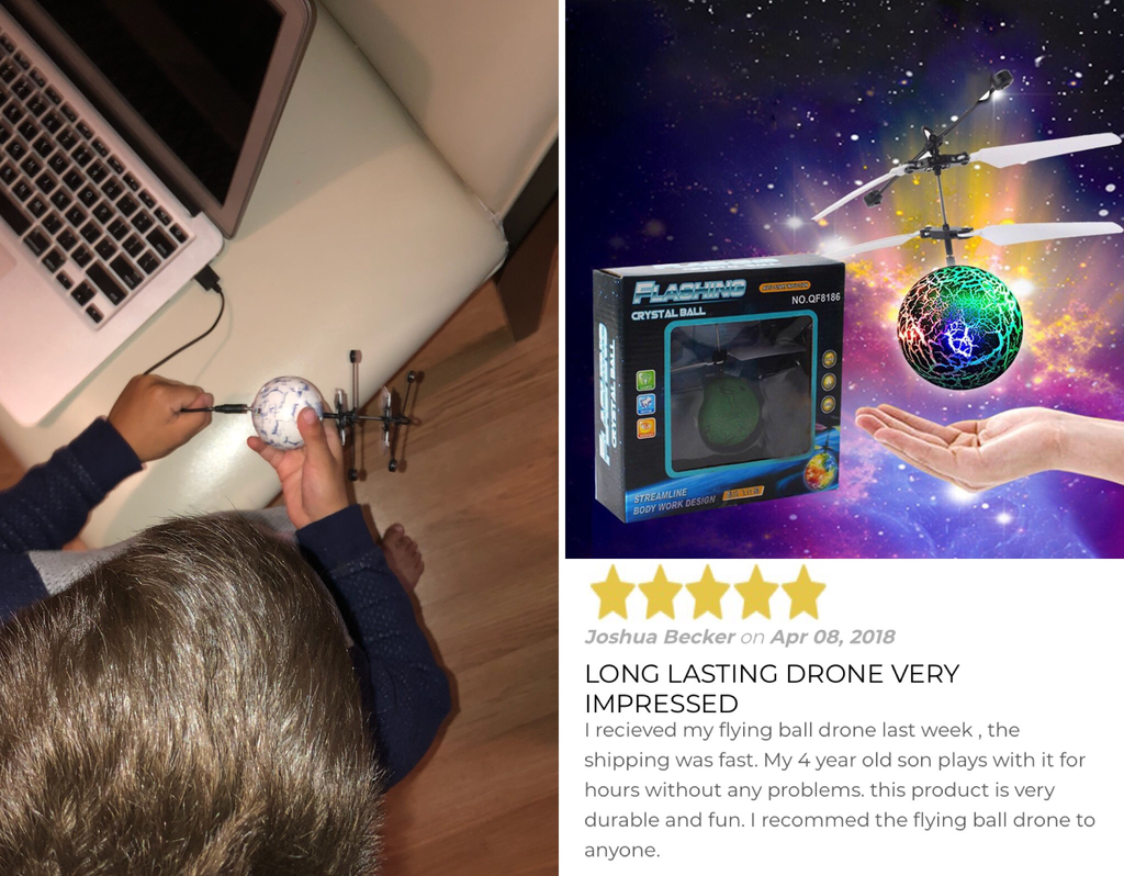 Kid Friendly Self Flying Ball Drone! With Built-in LED Lighting