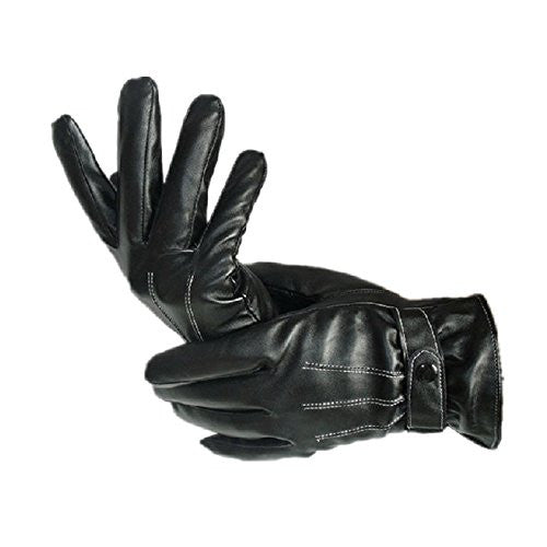 Men's Fashion Waterproof Windproof PU Leather Gloves Winter Warm Cashmere Gloves Color:Black