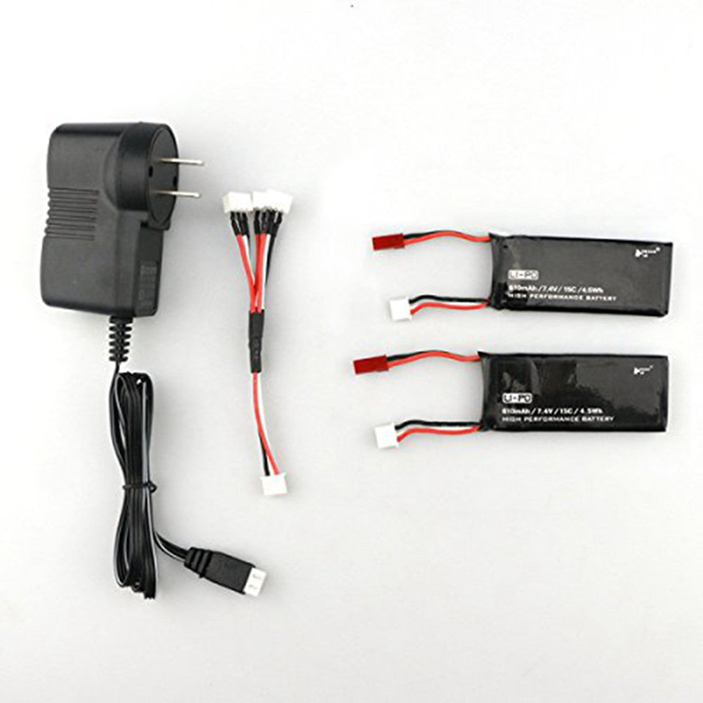US plug Spare Parts 2PCS 7.4V 15C 610mAh Battery with Charger Set for Hubsan H502S RC Quadcopter